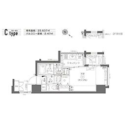 ZOOM月島(ズームツキシマ) 3階1Kの間取り