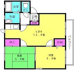 兵庫県加古川市東神吉町砂部の賃貸アパートの間取り