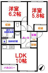 JR五日市線 東秋留駅 徒歩10分の賃貸アパート 1階2LDKの間取り