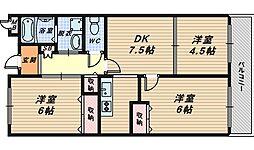 大阪府和泉市内田町2丁目の賃貸マンションの間取り