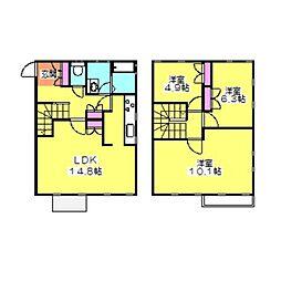 [テラスハウス] 神奈川県横浜市港北区日吉2丁目 の賃貸【/】の間取り