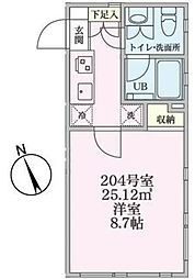 JR南武線 矢向駅 徒歩2分の賃貸マンション 2階1Kの間取り