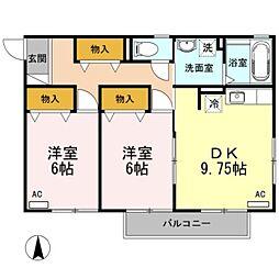 愛知県豊橋市向山東町の賃貸アパートの間取り