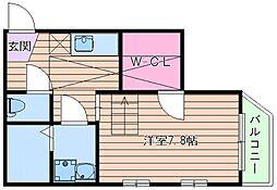 大阪府大阪市東住吉区田辺6丁目の賃貸アパートの間取り