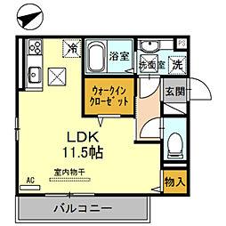 JR阪和線 和歌山駅 徒歩30分の賃貸アパート 1階ワンルームの間取り