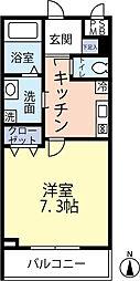 ランヴィ四谷三栄町 2階1Kの間取り