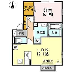 メゾン・ド・ルシオ 1階1LDKの間取り