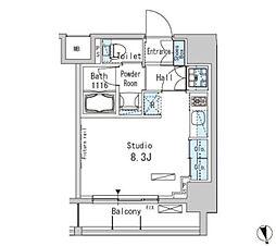 JR山手線 上野駅 徒歩9分の賃貸マンション 8階ワンルームの間取り