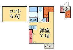 京成本線 船橋競馬場駅 徒歩4分の賃貸アパート 2階1Kの間取り