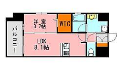 西鉄天神大牟田線 西鉄平尾駅 徒歩13分の賃貸マンション 2階1LDKの間取り
