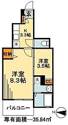 JR総武線 新小岩駅 徒歩21分の賃貸アパート 1階2Kの間取り