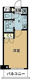 スカイコート東京ベイ東雲 2階1Kの間取り