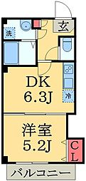 JR総武線 千葉駅 徒歩12分の賃貸マンション 4階1DKの間取り