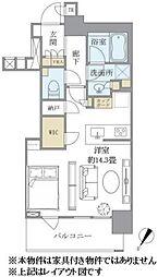 ブリリアザタワー東京八重洲アベニュー 4階ワンルームの間取り