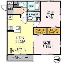 JR南武線 宿河原駅 徒歩11分の賃貸アパート 3階2LDKの間取り