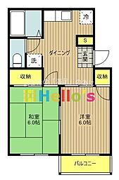 東京都昭島市田中町3丁目の賃貸アパートの間取り