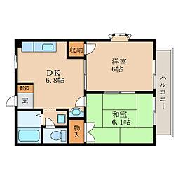 滋賀県野洲市市三宅の賃貸アパートの間取り