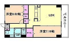 エスヴェール北梅田[10階]の間取り