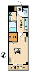 小田急多摩線 唐木田駅 徒歩10分の賃貸マンション 3階1Kの間取り