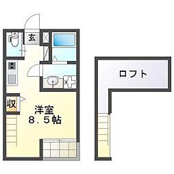 リバーサイド花田 1階ワンルームの間取り