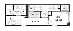東京メトロ有楽町線 新富町駅 徒歩3分の賃貸マンション 2階1Kの間取り
