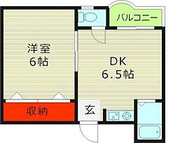 マンションHISA 4階1DKの間取り