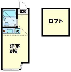 ユナイト生田キッシンジャーの杜 1階ワンルームの間取り
