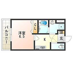 JR大阪環状線 寺田町駅 徒歩9分の賃貸マンション 6階1Kの間取り