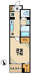 小田急小田原線 読売ランド前駅 徒歩7分の賃貸マンション 5階1Kの間取り