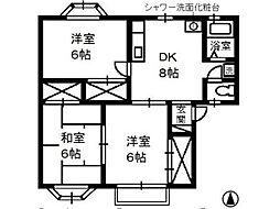 岡山県倉敷市中畝3丁目の賃貸アパートの間取り