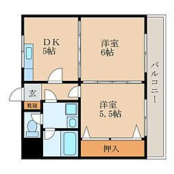 滋賀県栗東市小柿5丁目の賃貸マンションの間取り