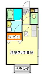 千葉県船橋市本町1丁目の賃貸アパートの間取り