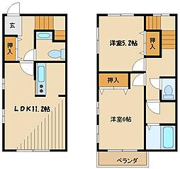 小田急小田原線 鶴川駅 徒歩21分の賃貸テラスハウス 2LDKの間取り