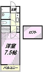 埼玉県川越市中原町2丁目の賃貸アパートの間取り