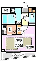 フェルクルール田端ルネサンスコート 2階1Kの間取り