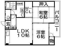 香里ニューハイツNO2[2階]の間取り