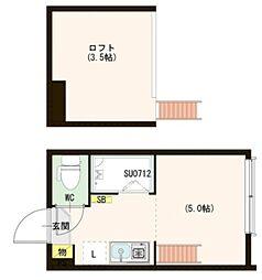 東京メトロ丸ノ内線 中野坂上駅 徒歩10分の賃貸アパート 1階ワンルームの間取り