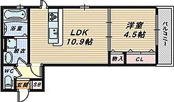 大阪府堺市西区鳳北町8丁の賃貸アパートの間取り