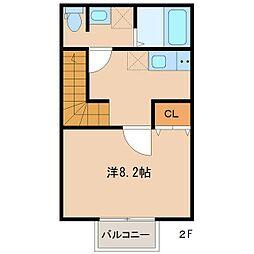 エムケミアI 2階1Kの間取り