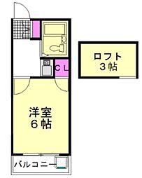 JR武蔵野線 新座駅 徒歩14分の賃貸アパート 2階1Kの間取り