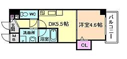 JR大阪環状線 天満駅 徒歩6分の賃貸マンション 8階1DKの間取り