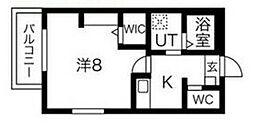 JR阪和線 鳳駅 徒歩15分の賃貸マンション 2階1Kの間取り