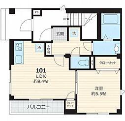 東京メトロ南北線 白金台駅 徒歩12分の賃貸マンション 3階1LDKの間取り