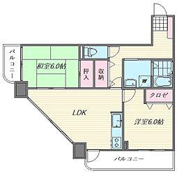 シャンヴル箱崎[2階]の間取り