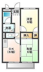 愛知県豊橋市西浜町の賃貸アパートの間取り