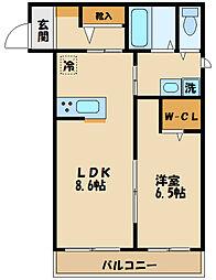 JR南武線 中野島駅 徒歩12分の賃貸アパート 1階1LDKの間取り