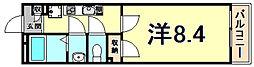 阪神本線 大物駅 徒歩9分の賃貸マンション 1階1Kの間取り