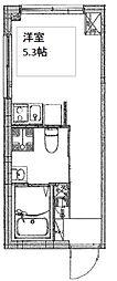 都営三田線 板橋本町駅 徒歩4分の賃貸マンション 2階ワンルームの間取り
