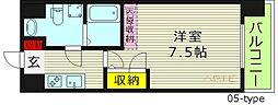 T's SQUARE大阪城 ティーズスクェア大阪城 7階1Kの間取り