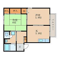 滋賀県近江八幡市西本郷町の賃貸アパートの間取り